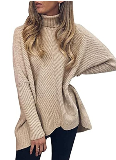 ANRABESS Turtleneck Long Batwing Sleeve Sweater