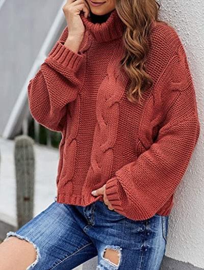 ZKESS Chunky Long Sleeve Turtleneck Sweater
