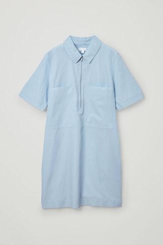 ZIP-UP COTTON CUPRO SHIRT DRESS