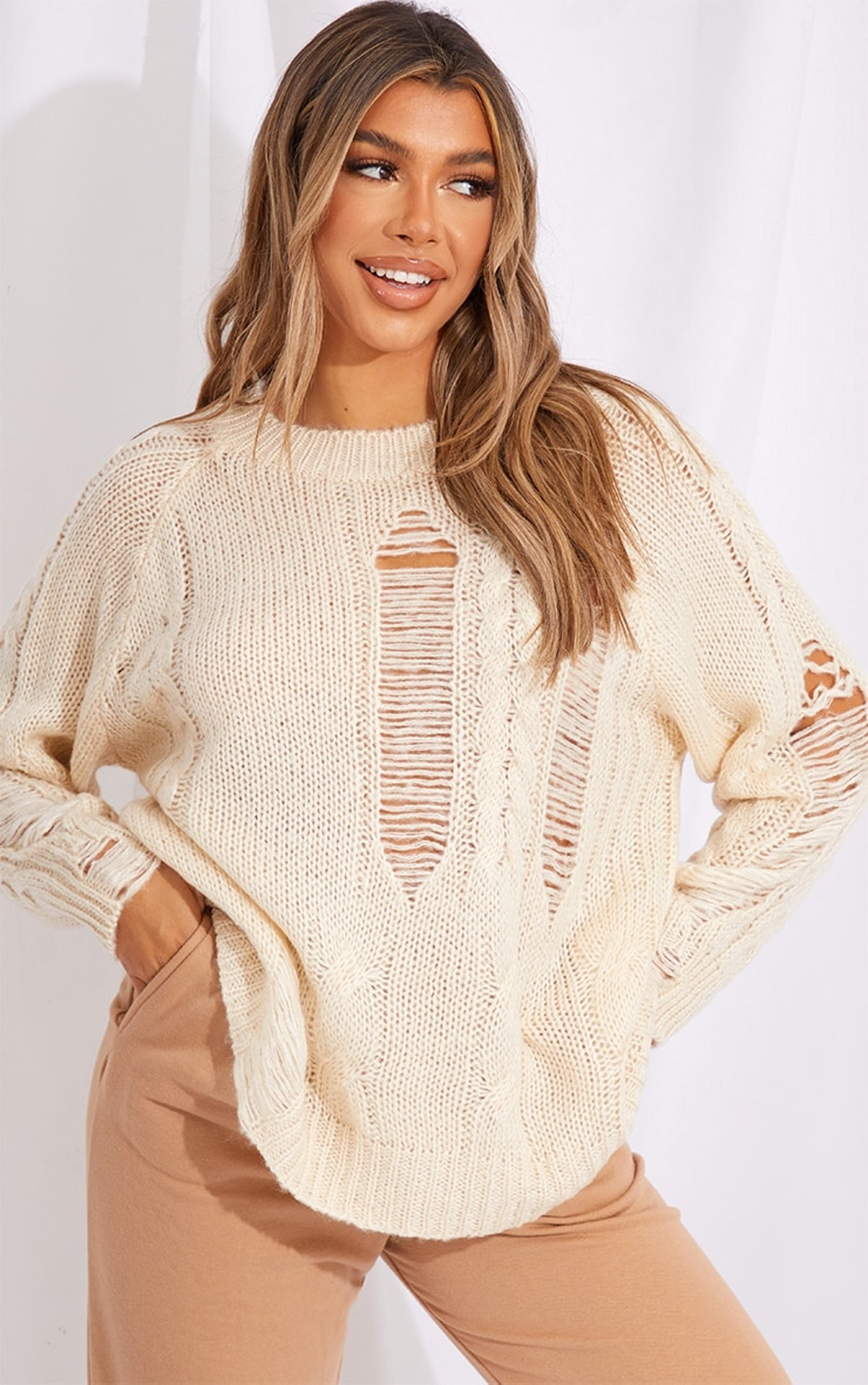 Pretty Little Thing Cream Distressed Cable Knit Oversized Sweater