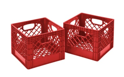 Plastic Storage Milk Crate in Red
