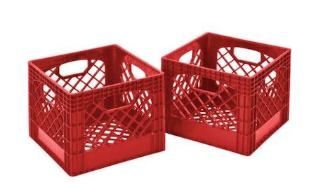 Plastic Storage Milk Crate in Red