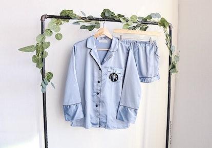 wedding pajamas, button down shirt, sleep shirt, pajamas,