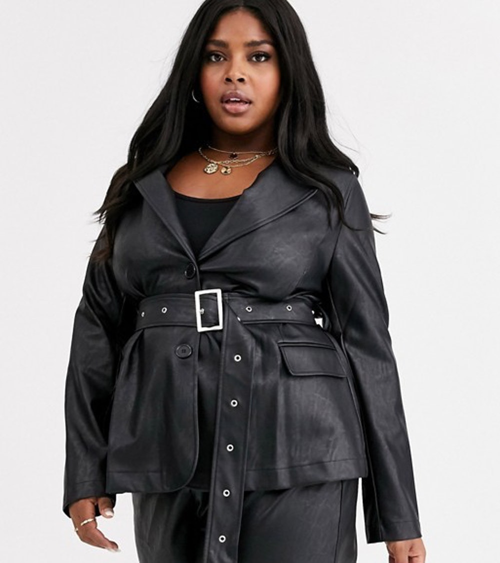 Plus Belted Blazer in Faux Leather