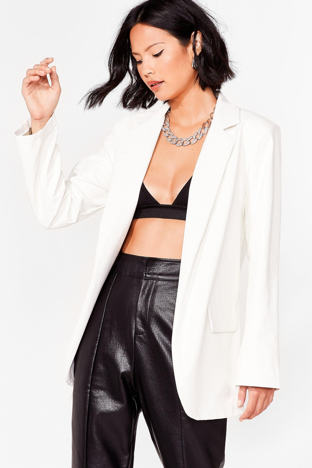 Happily Faux Leather After Relaxed Blazer