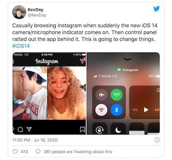 Tweet screenshot of Instagram activating camera recording light