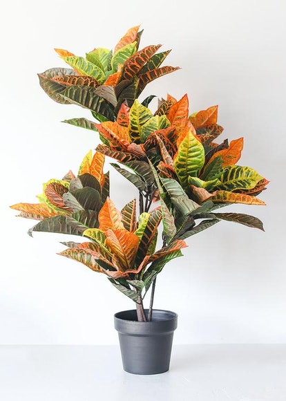 Colorful Fake Tropical Croton Plant in Pot