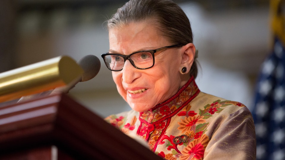 U.S. Supreme Court Justice Ruth Bader Ginsburg speaks at an annual Women's History Month reception hosted by Pelosi in the U.S. capitol building on Capitol Hill in Washington, D.C. This year's event honored the women Justices of the U.S. Supreme Court: Associate Justices Ruth Bader Ginsburg, Sonia Sotomayor, and Elena Kagan. P