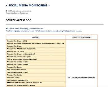 leaked Amazon social media monitoring document screenshot