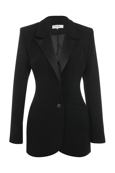 BLACK CREPE TAILORED BLAZER