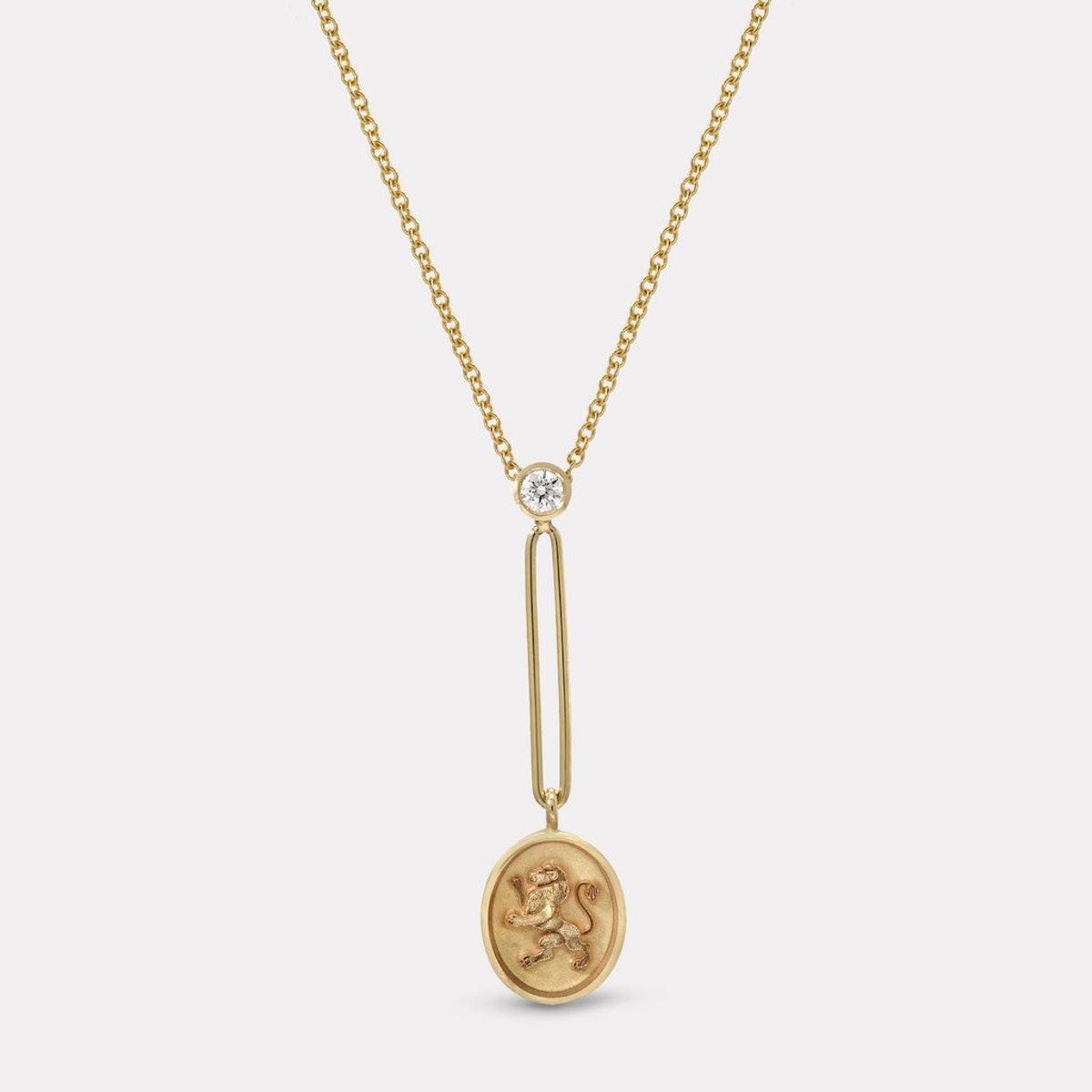 Fantasy Signet Pendant Necklace Lion