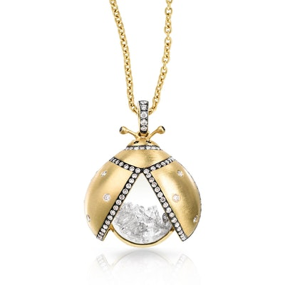 Diamond Shaker LadyBug Pendant