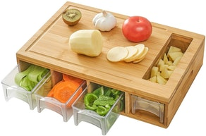 NOVAYEAH Bamboo Cutting Board with Containers