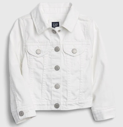 Toddler Stain Resistant White Denim Jacket