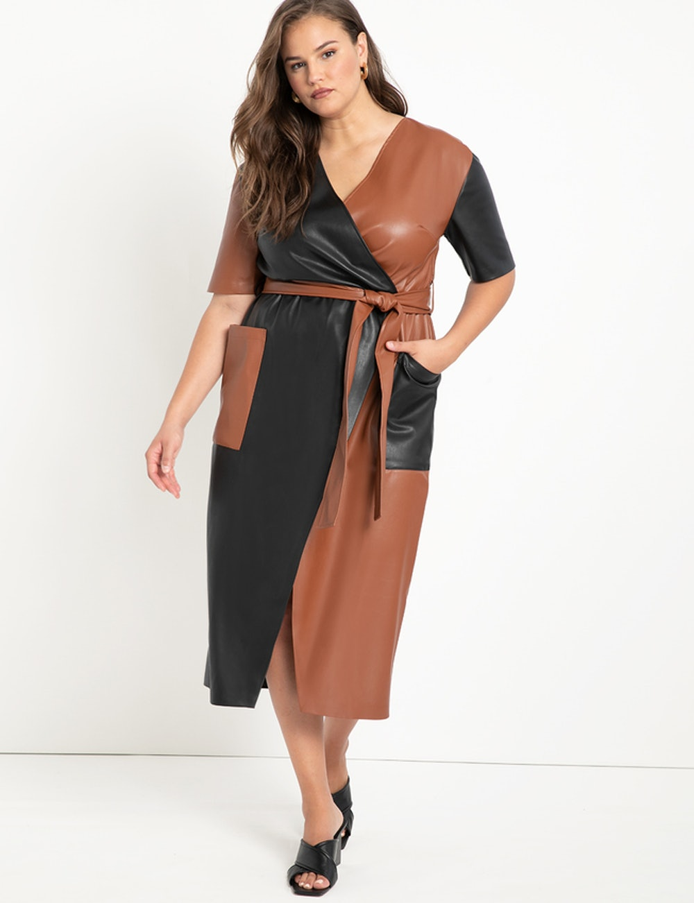 Colorblocked Faux Leather Wrap Dress