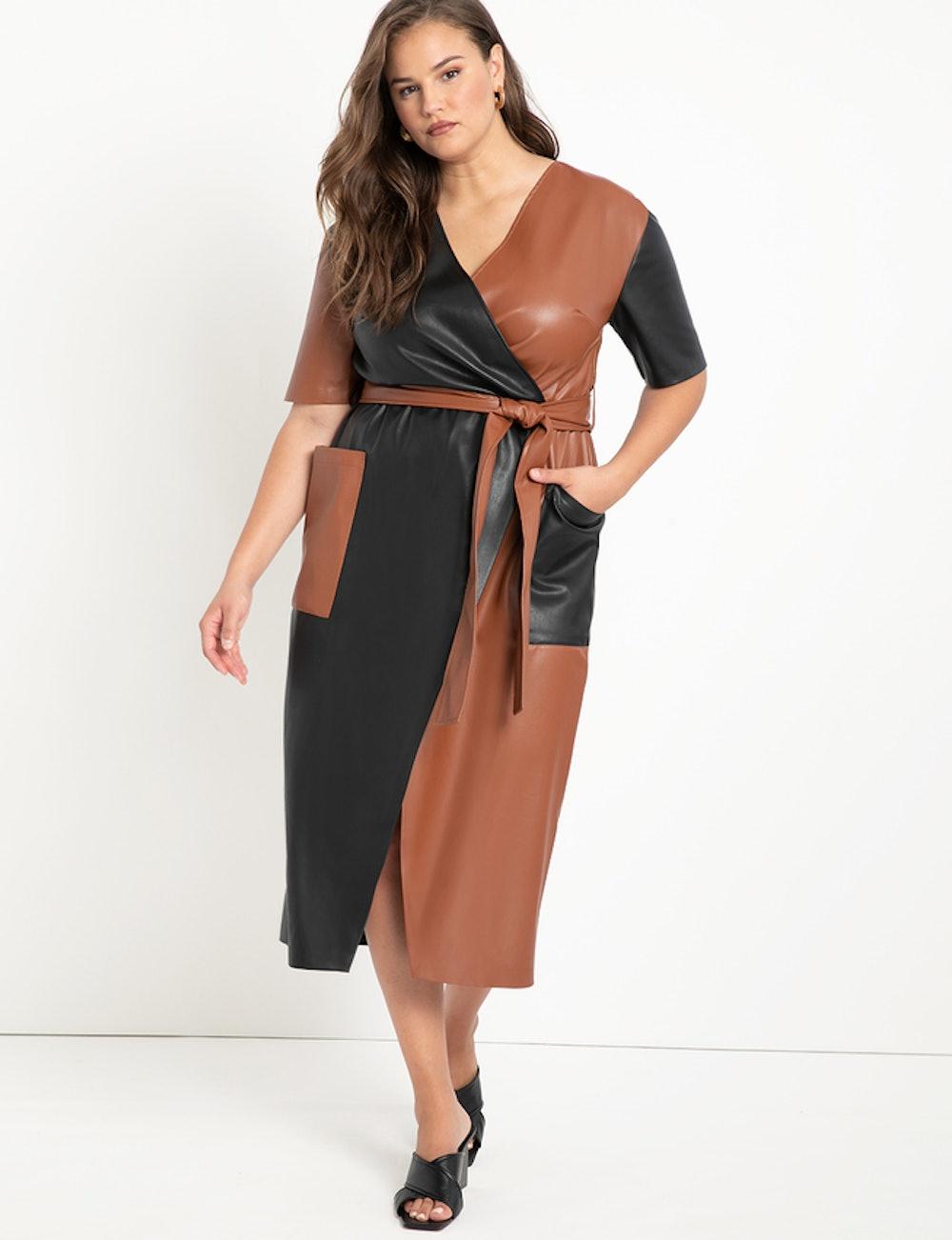 Colorblocked Faux Leather Wrap Dress