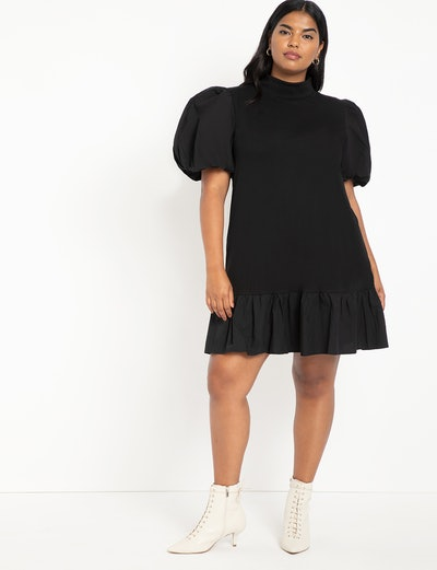 T Neck Easy Dress With Flounce