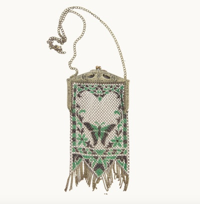 Art Deco Butterfly Design Chainmail Pouch Necklace