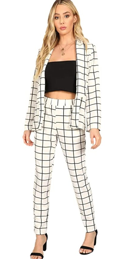 SheIn Two Piece Plaid Long Sleeve Blazer