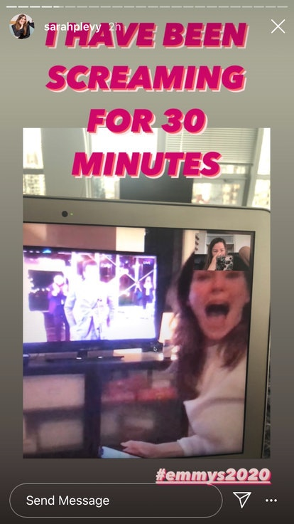 Sarah Levy reacting to Dan Levy's Emmy wins