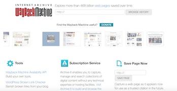 Wayback Machine site screengrab