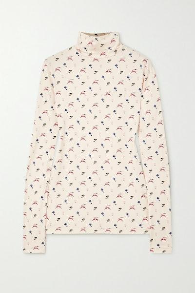 Printed Jersey Turtleneck Top