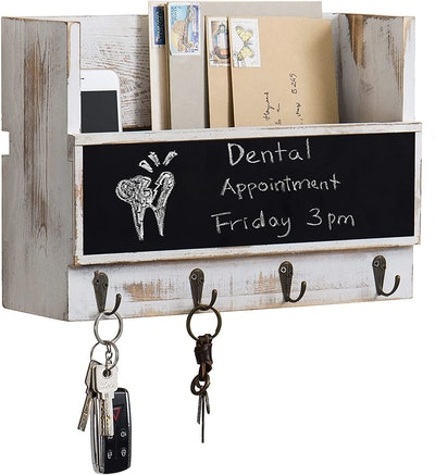 MyGift Wall-Mounted Mail Holder With Chalkboard & Key Hooks