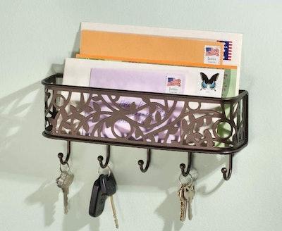 mDesign Wall-Mounted Metal Entryway Storage Organizer