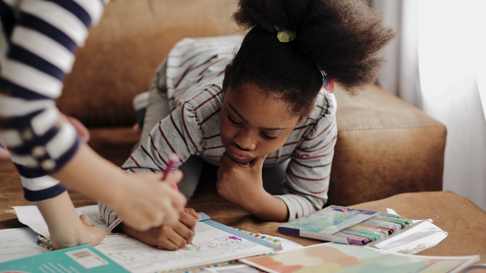 kids homeschooling at home