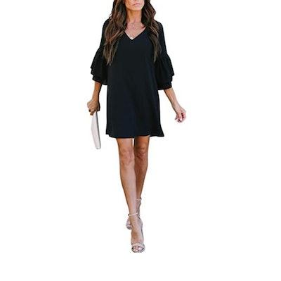 BELONGSCI Bell Sleeve Shift Dress