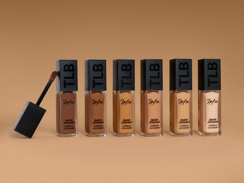 Six shades of The Lip Bar's new Quick Conceal Caffeine Concealer in tubes.