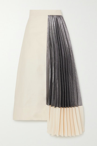 Hermes Asymmetric Pleated Cotton and Lamé Midi Skirt