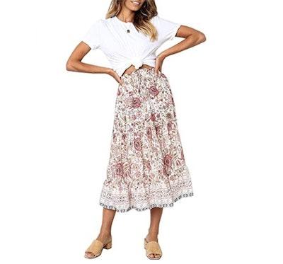 MEROKEETY High Waist Pleated Skirt with Pockets