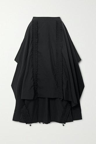 Draped Shirred Taffeta Maxi Skirt