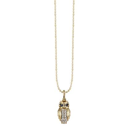 Gold & Diamond Owl Necklace