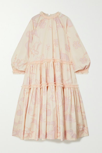 Oversized Tulle-Trimmed Tiered Printed Poplin Midi Dress