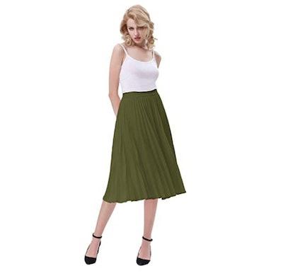 Kate Kasin High Waist Pleated A-Line Swing Skirt