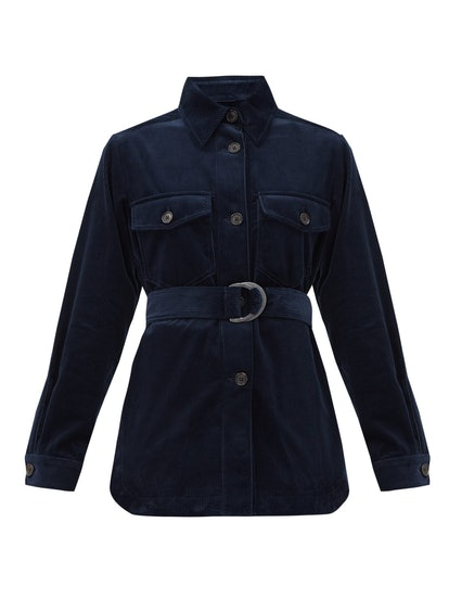 Belted Cotton-Corduroy Shirt Jacket