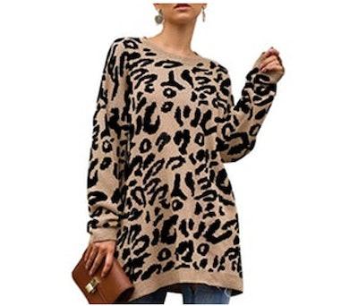 NSQTBA Leopard Print Pullover Sweater