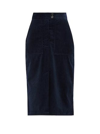 Cotton-Corduroy Midi Skirt