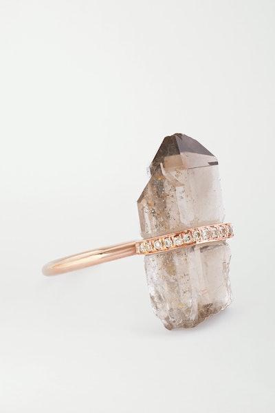 14-Karat Rose Gold, Quartz and Diamond Ring