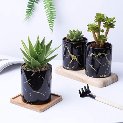 T4U Ceramic Marble Plant Pots (Set of 3)