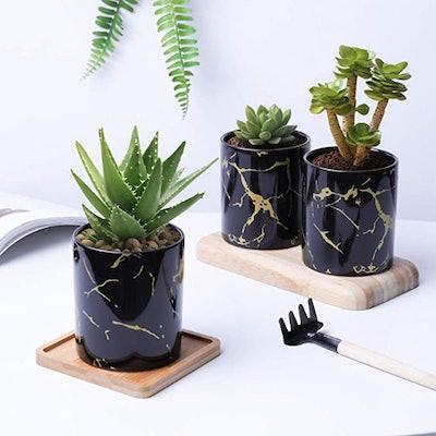 T4U Ceramic Marble Plant Pots (Set of 3)