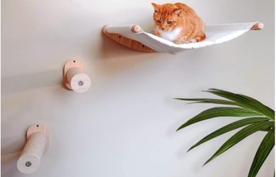 7 Ruby Road Wall Mounted Cat Hammock With Two Steps (3-Piece Set)