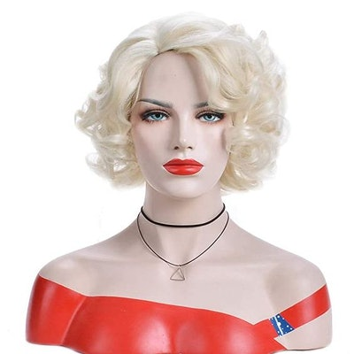 BERON Short Curly Blonde Wig Natural Wavy Wig for Halloween Cosplay Costume Party Come with Wig Cap (Blonde)