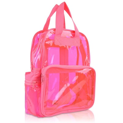 DALIX Small Transparent Clear Backpack in Neon Pink