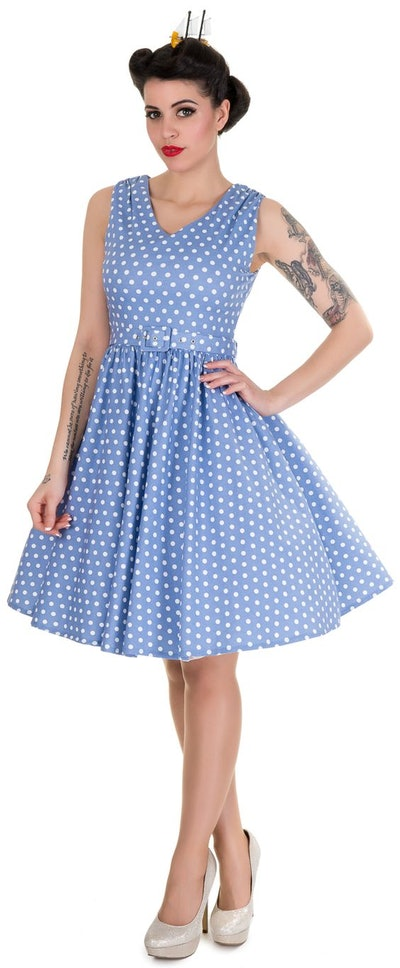 Wendy Polka Dot Rockabilly Swing Dress in Light Blue