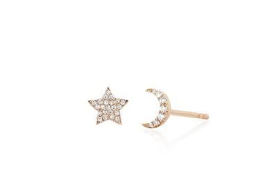 Diamond Mini Moon & Star Stud Earring