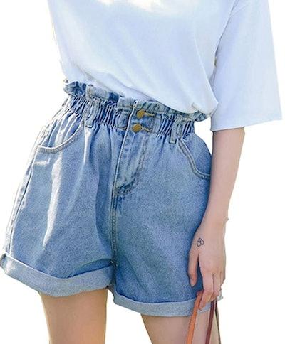 Plaid&Plain Women's High Waisted Denim Shorts