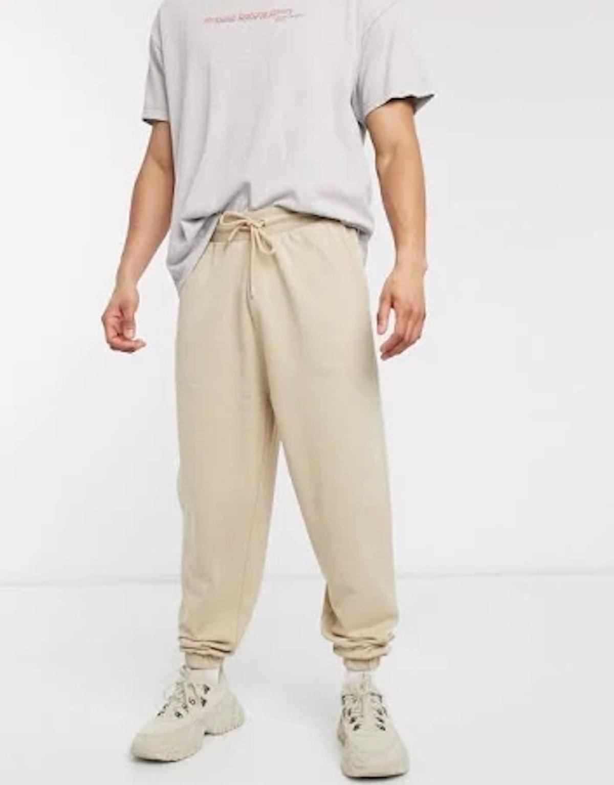 ASOS DESIGN coordinating organic oversized sweatpants in beige